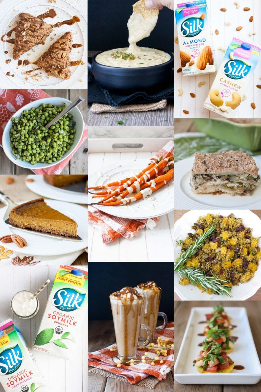 collage of a vegan meal plan of different recipes for thanksgiving