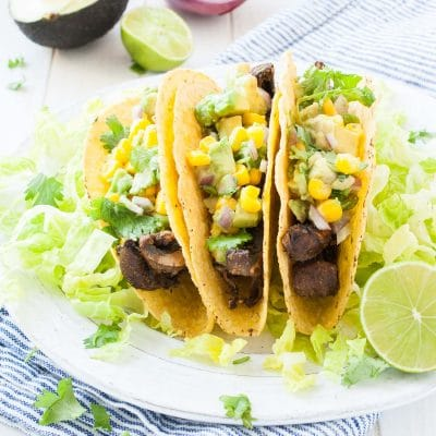 Beer-Marinated Portobello Mushroom Tacos with Avocado Corn Salsa