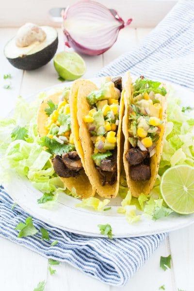 Beer-Marinated Portobello Mushroom Tacos with Avocado Corn Salsa