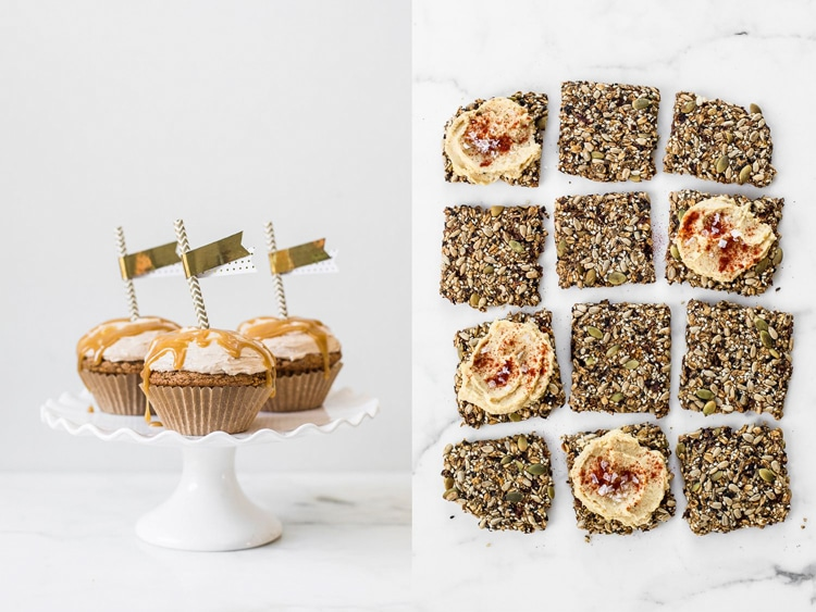 Collage of front view of cupcakes and top view of seed crackers