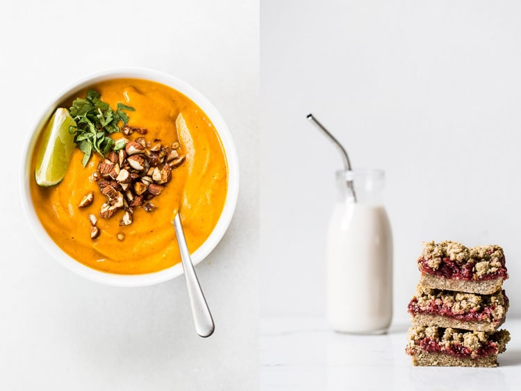 Collage of top view of orange colored soup and front view raspberry crumble bars