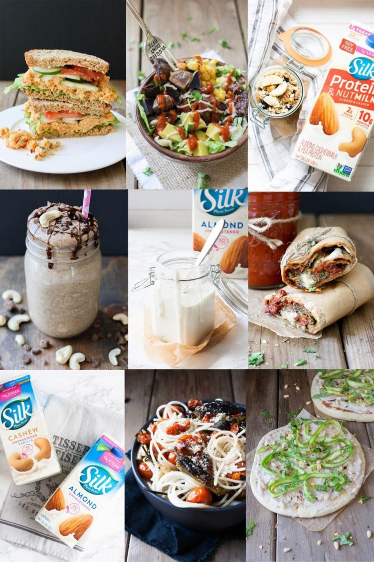 Collage of vegan recipes like sandwiches, burritos and pasta