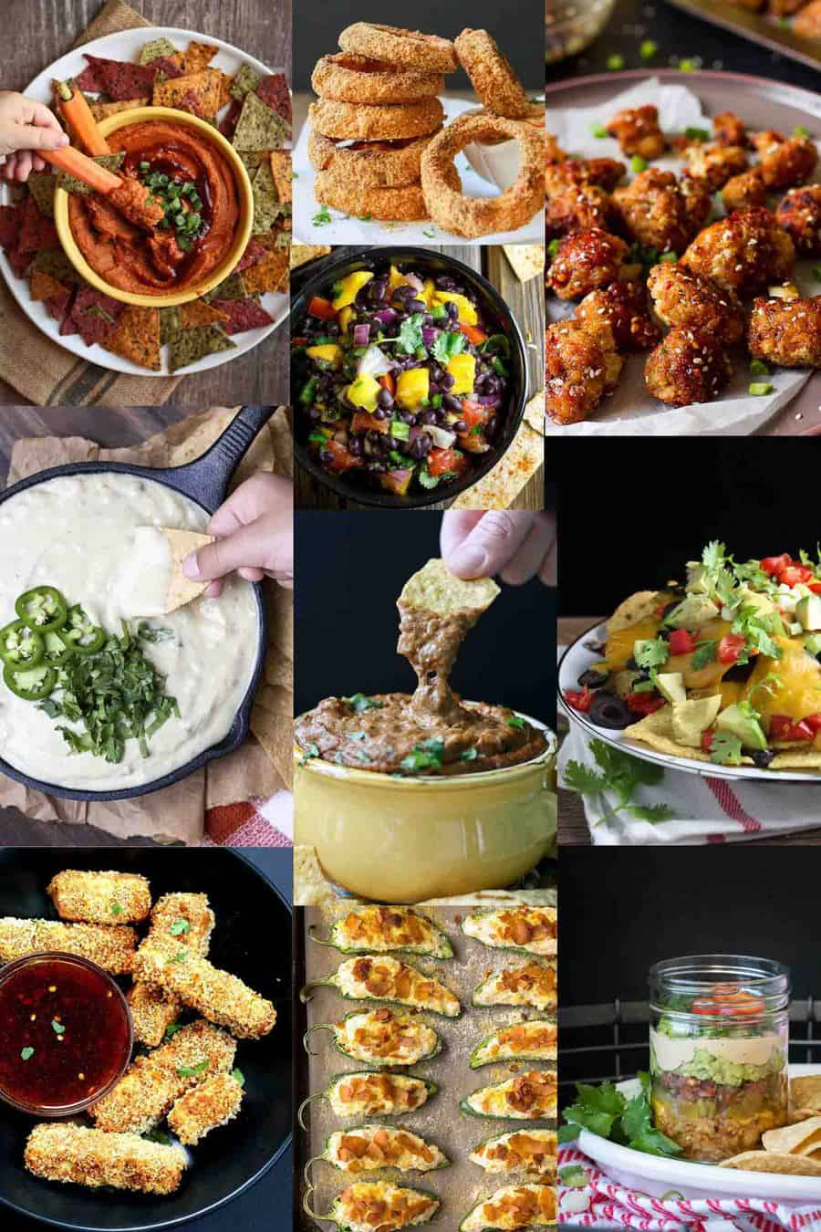 Collage of vegan appetizers for game day