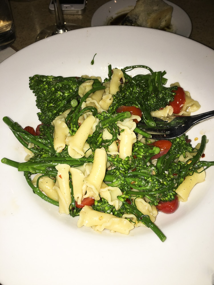 White plate with tube shaped pasta mixed with broccoli and tomatoes