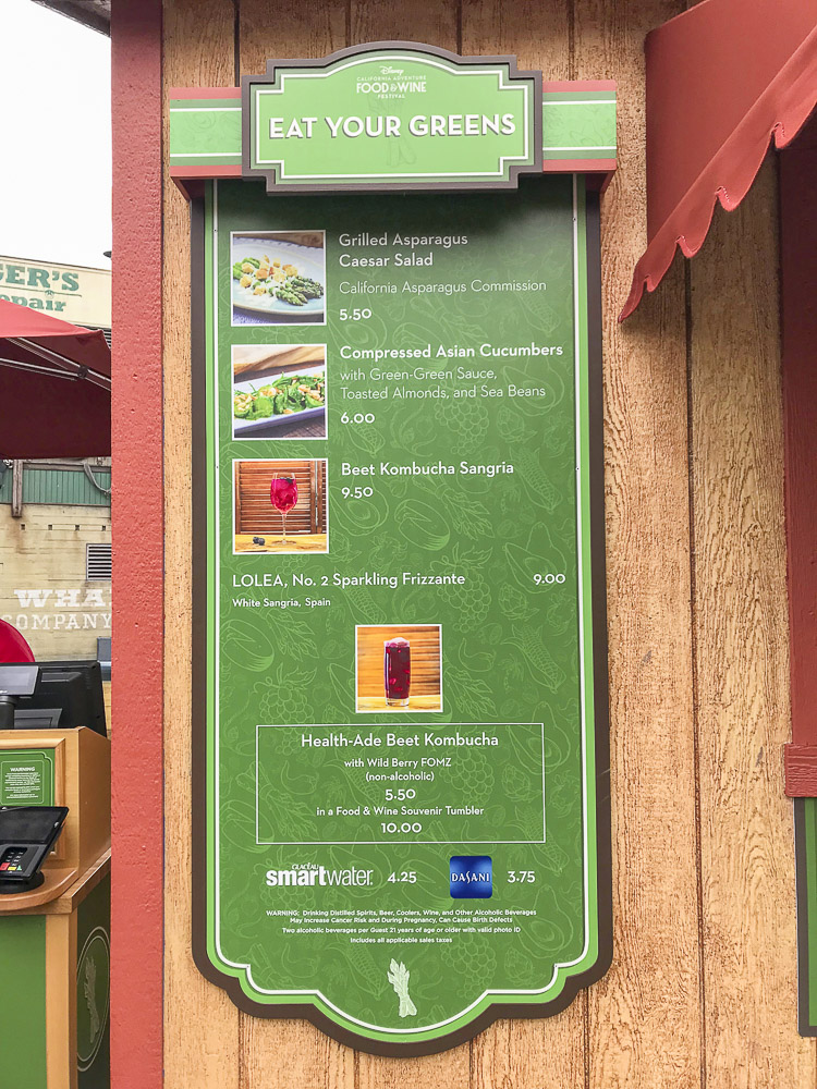 Green sign with list of vegetable based food options