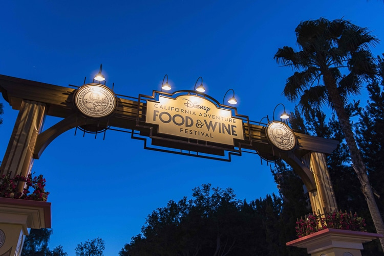 Wooden archway with Disney California Adventure Food and Wine Festival sign