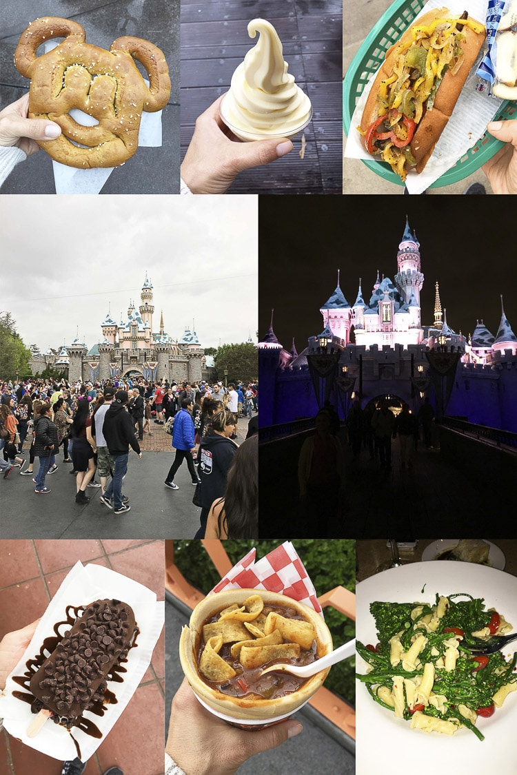 Collage of photos of food and scenes from Disneyland