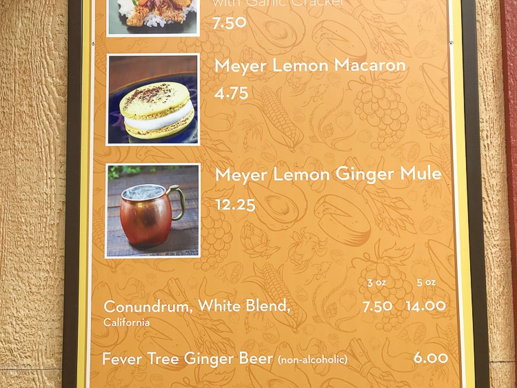 Yellow sign with list of lemon based food options