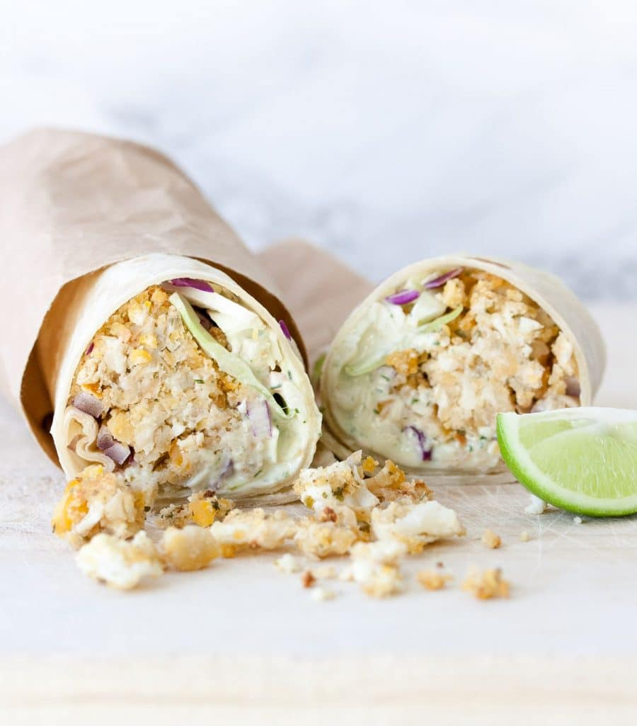 "Burritos with cabbage and cauliflower bean ""fish"" style fillings"