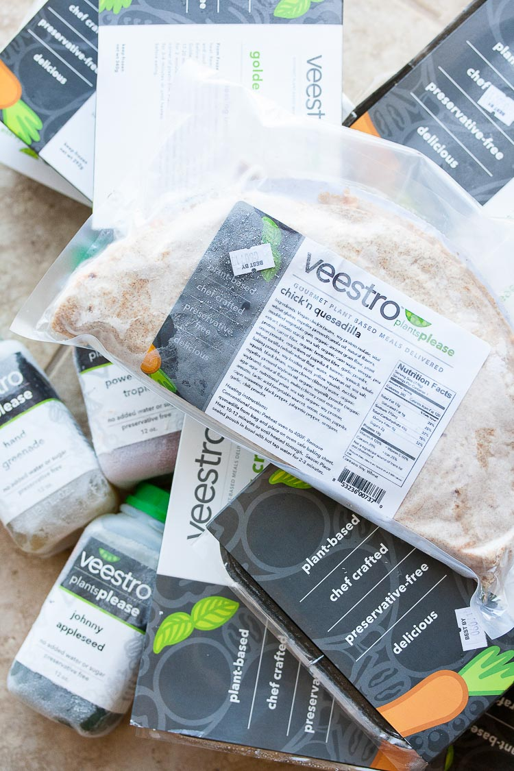 An overhead shot of Frozen precooked meals by Veestro