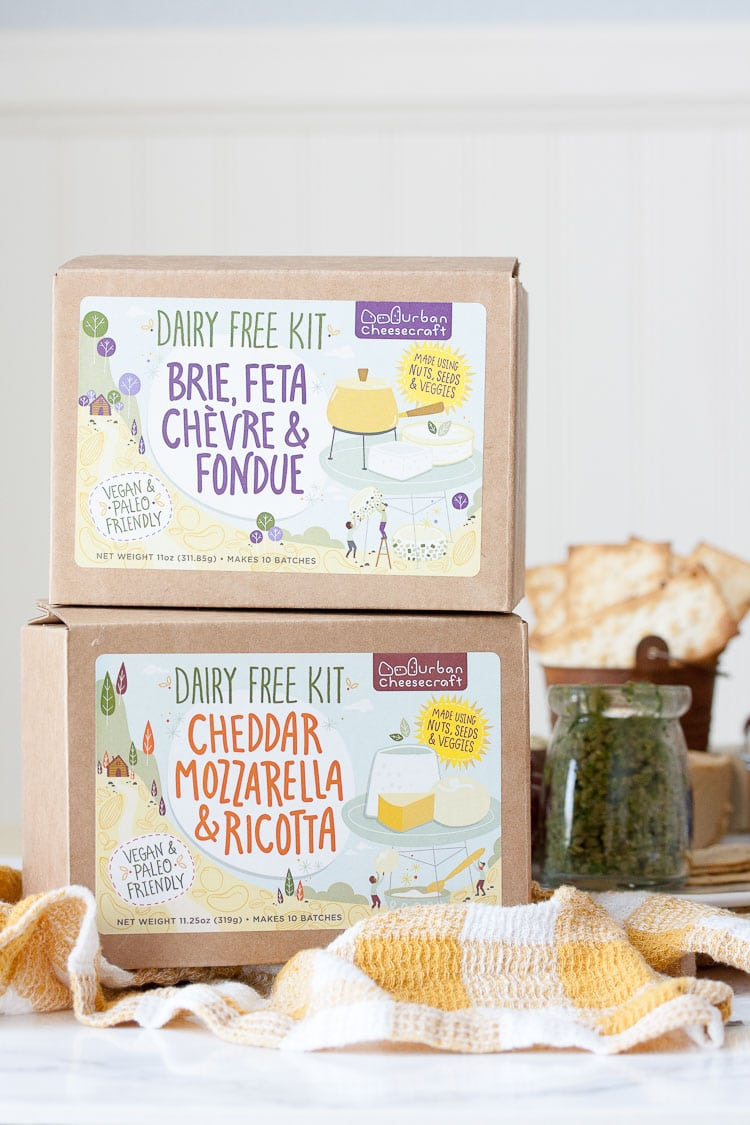 DIY vegan cheese kits stacked on top of each other