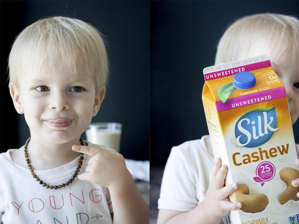 Collage of toddler licking lips and holding carton of Silk unsweetened cashew milk
