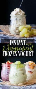 Pinterest pin for 2 ingredient instant frozen yogurt