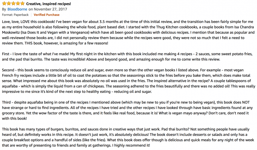Screen shot of amazon review of vegan burgers and burritos cookbook