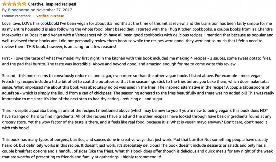 Screen shot of amazon review of vegan burgers and burritos cookbook