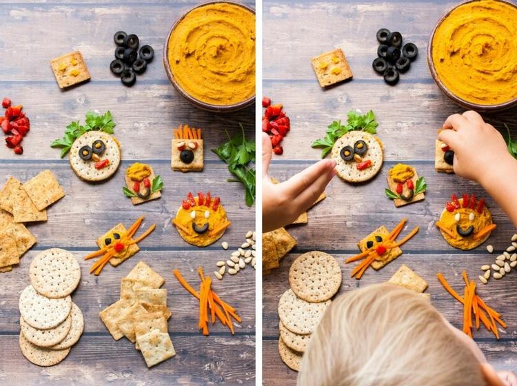 Two shots of children building fun crackers with faces with roasted carrot hummus