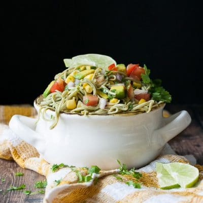 A Mexican pasta salad in a white bowl