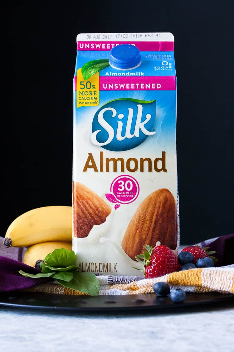 A product shot of Silk almond milk