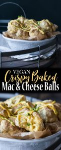 Vegan crispy baked mac and cheese balls