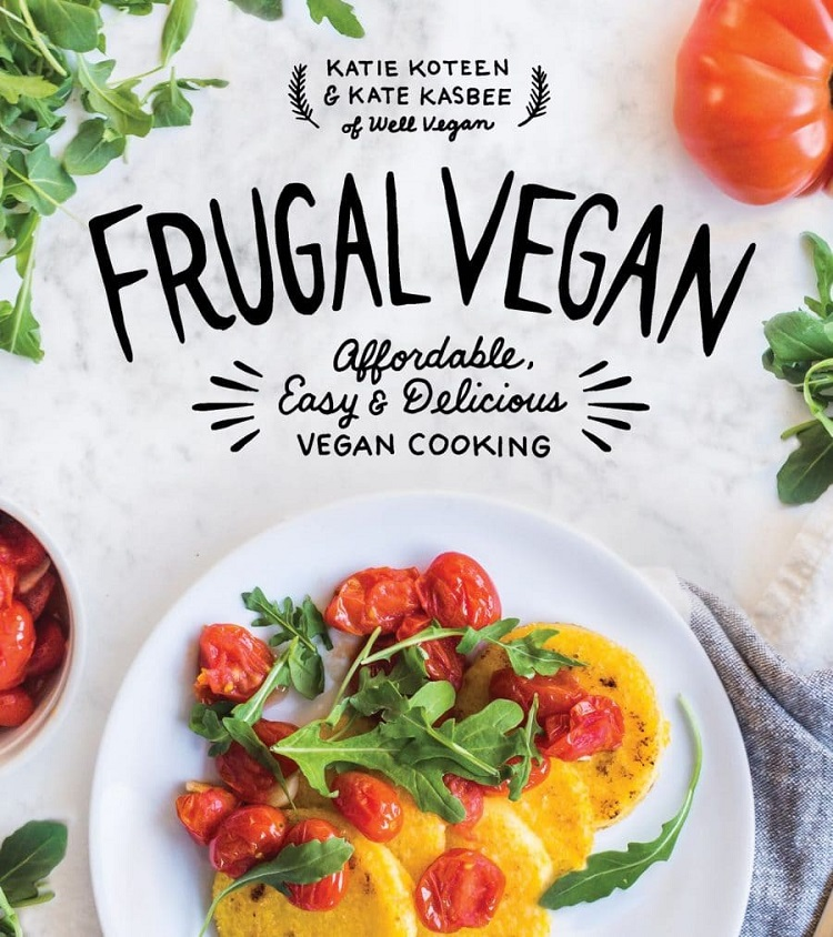 A cookbook cover of the frugal vegan