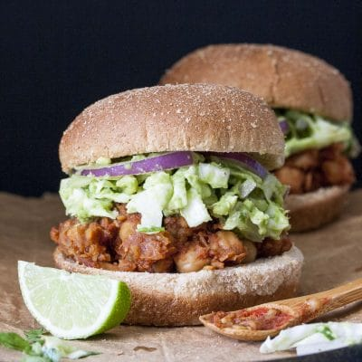 BBQ Chickpea Sliders with Pineapple Slaw