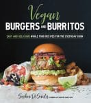 A book cover of vegan burgers and burritos