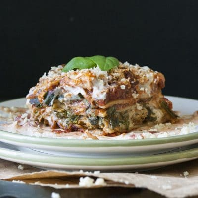 Vegan Creamy Pesto, Tomato and Sausage Lasagna (and a Bonus 4 Day Meal Ideas!)