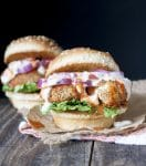vegan buffalo wing slider with red onion, lettuce and ranch