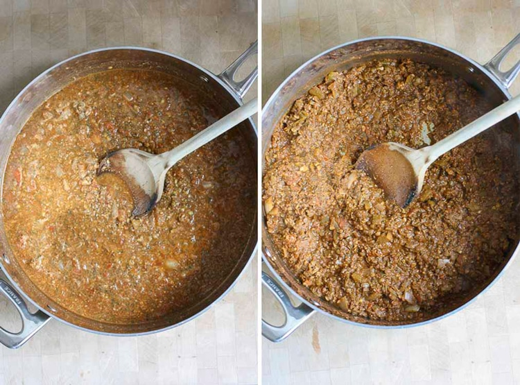 "Collage of vegan chili ""meat"" reducing and cooking in a saute pot"