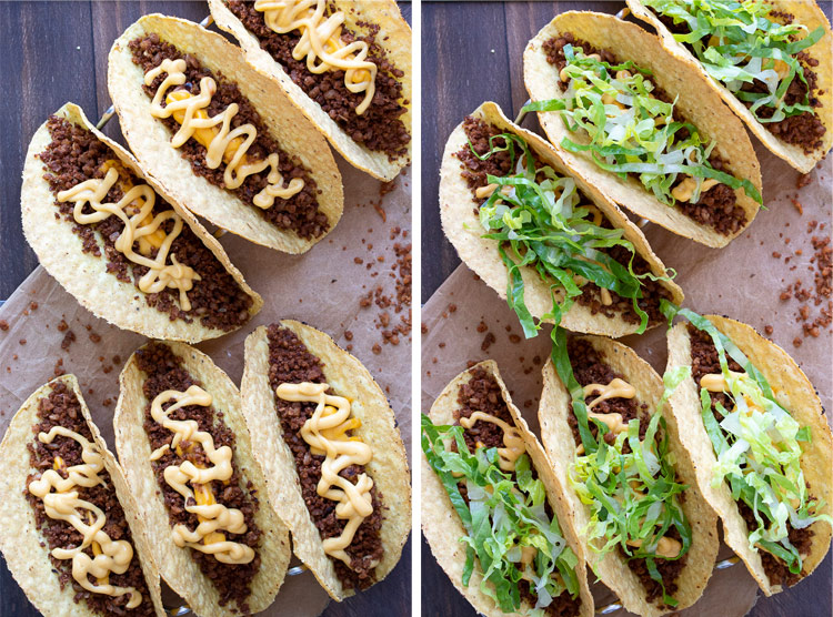 Collage of vegan crispy tacos being filled with vegan taco meat and toppings