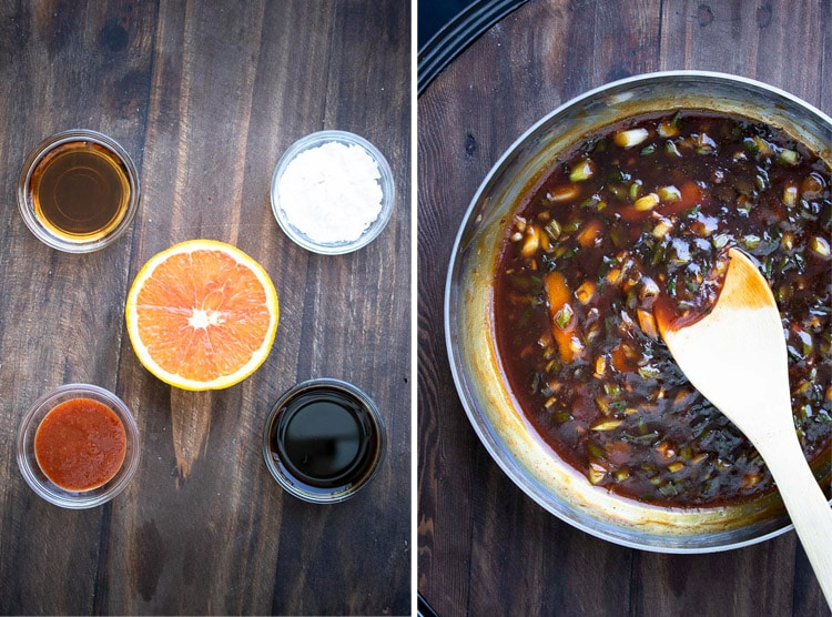 Collage of sauce ingredients in glass bowls and pan with General Tso's sauce