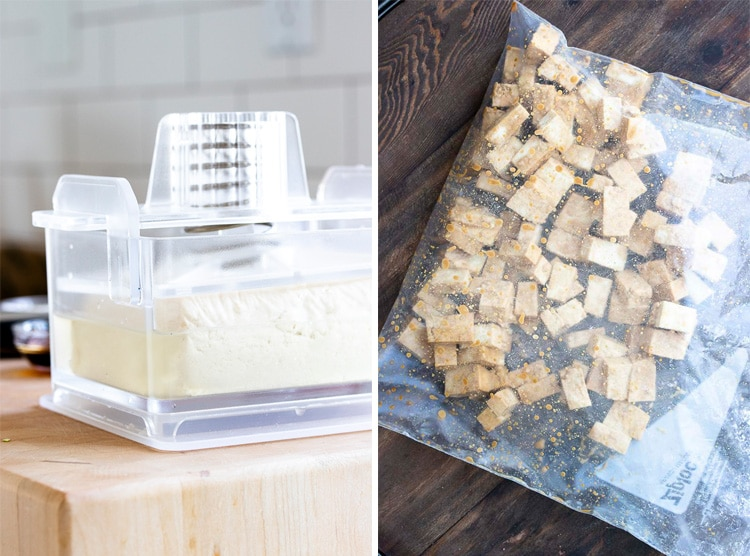 Collage of tofu in a tofu press and a plastic bag with marinated tofu