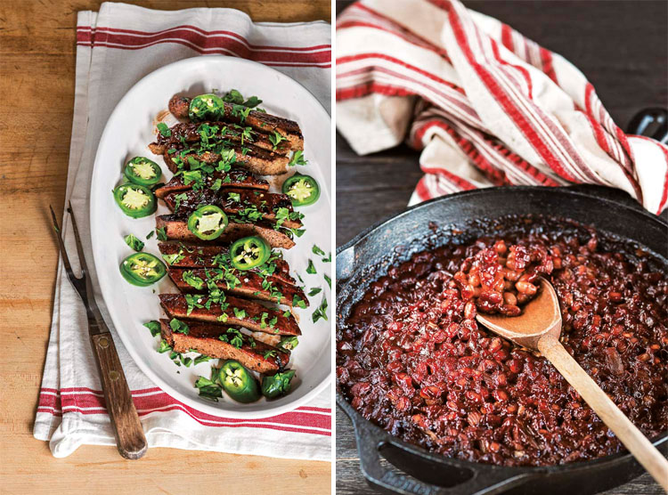Collage of vegan BBQ ribs and BBQ skillet baked beans