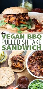 Vegan BBQ pulled pork sandwich made with mushrooms