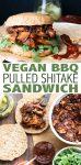 Vegan BBQ pulled pork sandwich made with mushrooms