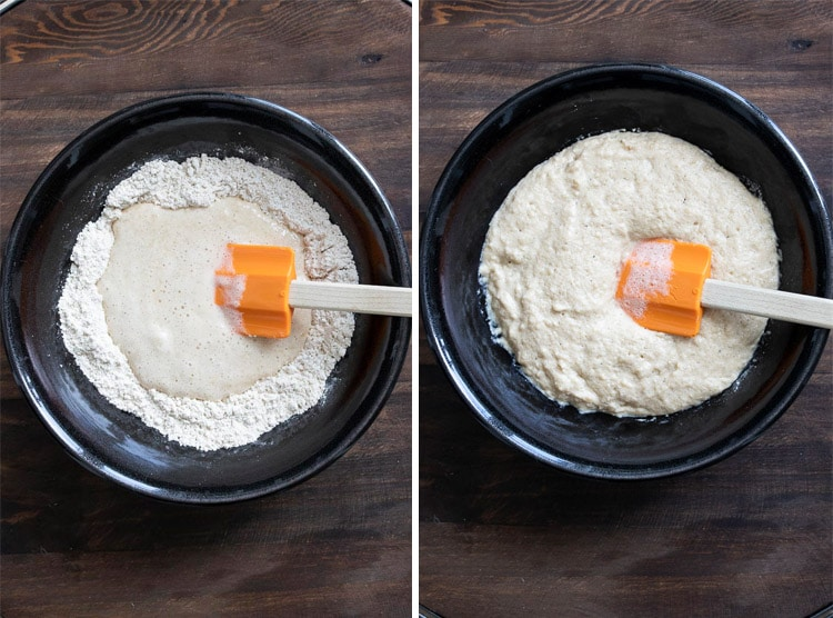 Collage with wet pancake batter mixing into dry pancake ingredients and it being mixed