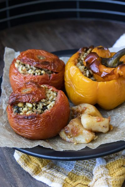 Vegan Yemista Greek Stuffed Tomatoes and Peppers
