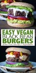 Looking for the perfect easy recipe for a quick dinner? These gluten-free vegan black bean burgers are low fat, full of protein and take 10 minutes to prep! #veganburger #easyveganrecipes