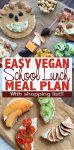 5 day easy vegan school lunch meal plan with a shopping list