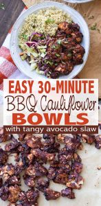 30 minutes to a fully cooked dinner that is satisfying enough to satisfy the whole family. These BBQ cauliflower bites are paired with tangy avocado slaw and cilantro lime quinoa for the perfect flavor bomb explosion you can't get enough of! #vegan #glutenfree #easyrecipe #backtoschooldinners