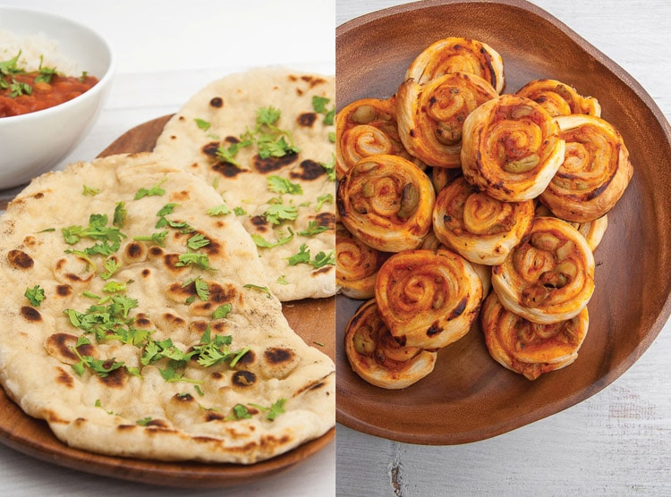 Collage of flatbread sprinkled with cilantro and puff pastry pinwheels with pizza sauce and olives inside