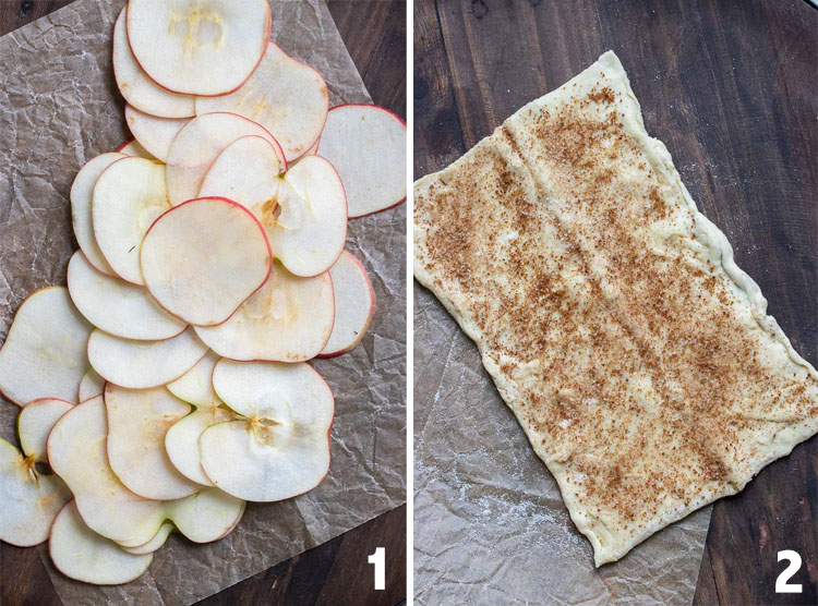 Collage of thinly sliced apples and rectangle of puff pastry sprinkled with sugar and cinnamon