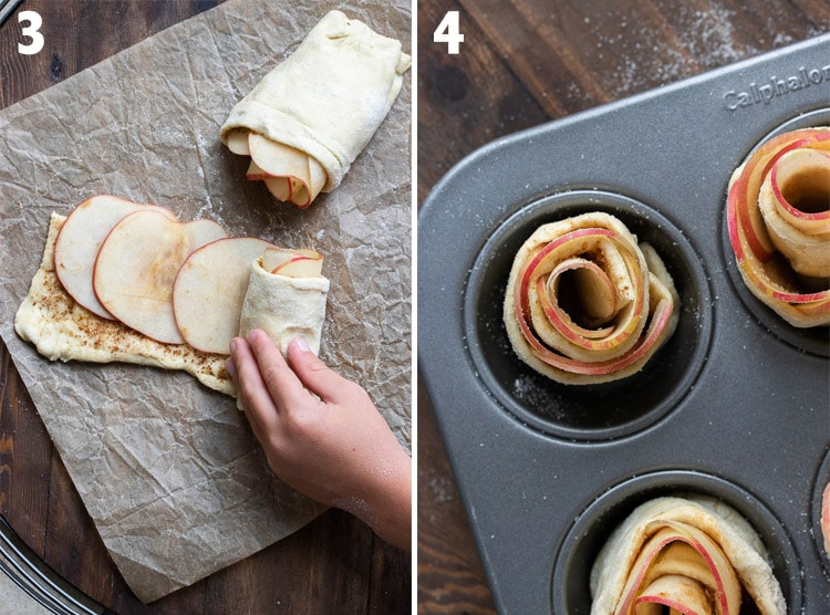 Collage of hand rolling up apples in puff pastry and the roll in a muffin tin