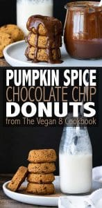 These vegan baked pumpkin donuts are fluffy, soft and perfectly moist. You won't believe they are made without oil or butter and with a gluten-free option! #vegandesserts #glutenfreerecipes