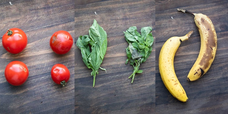 Collage of aging side by side tomatoes, basil and bananas