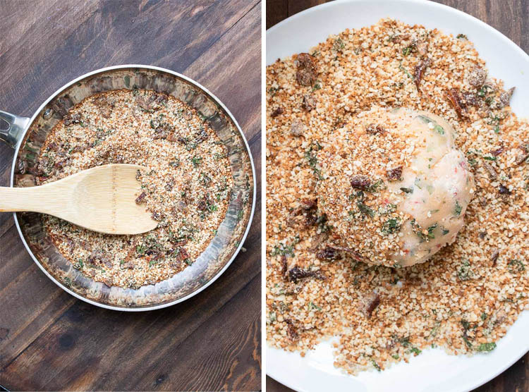 Collage of toasting breadcrumbs in a pan and covering cheeseball with breadcrumbs