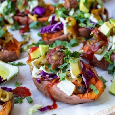 Healthy Twice Baked Vegan Sweet Potato Skins