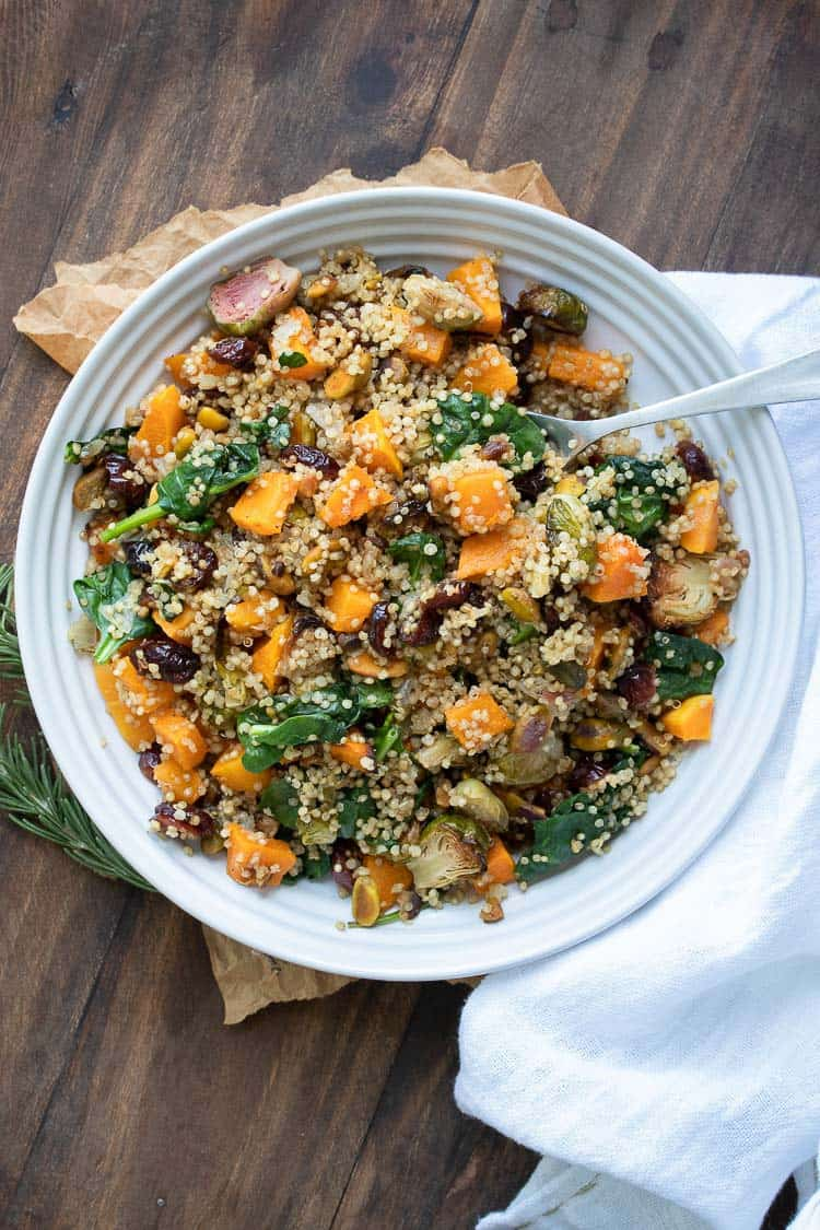 Quinoa based stuffing filled with butternut squash, Brussels sprouts, pistachios, cranberries and spinach