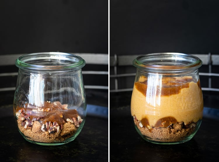 Collage of glass jars being layered for a creamy pumpkin dessert with cookie crumble