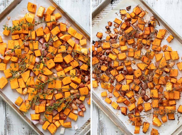 Collage of butternut squash, shallots and thyme raw and roasted